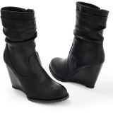 Slouch Wedge Ankle Boots