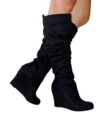 Wedge Slouch Boots Suede