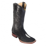 Stingray Skin Square Toe Boots