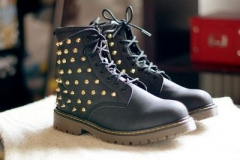 Black Combat Boots with Gold Studs