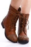 Brown Leather Studded Combat Boots