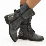 Grey Studded Combat Boots