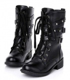Mid Calf Studded Combat Boots