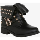 Studded Fold Over Combat Boots