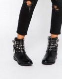Studded Strappy Combat Boots