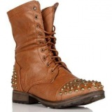 Tan Studded Combat Boots