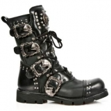Black Combat Boots with Studs
