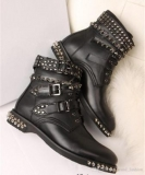 Flat Studded Combat Boots