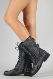 Studded Lace Up Combat Boots