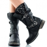 Womens Studded Combat Boots