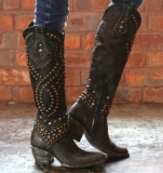 Black Studded Cowgirl Boots