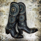 Studded Cowgirl Boots Black