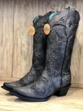 Corral Black Studded Cowgirl Boots