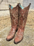 Distressed Studded Cowgirl Boots