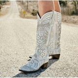 White Studded Cowgirl Boots