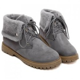 Stylish Lace-Up and Suede Design Women's Snow