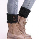 Stylish Women's Snow Boots with Knitting and Button Design