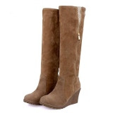 Brown Wedge Tall Boots with Zipper