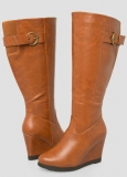 Tall Wedge Boots Wide Calf with buckle