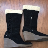 Tall Wedge Suede Boots with Fur