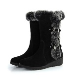 Black Wedge Fur Boots