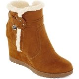Faux Fur Wedge Ankle Boots Women