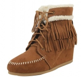Wedge Boots with Fur for Women