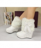 White Wedge Boots With Fur