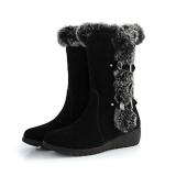 Black Wedge Fur Boots