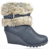 Cheap Wedge Snow Boots with Fur