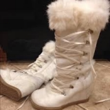 Lace Up Wedge Boots With Fur