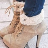 Ladies Wedge Boots With Fur