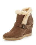 Suede Wedge Boots With Fur