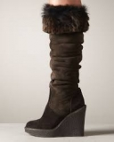Tall Wedge Boots With Fur
