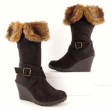 Tan Wedge Boots With Fur