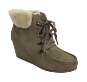Wedge Boots with Faux Fur