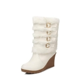 Wedge Boots with Fur Mid Calf