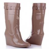 Knee High Wedge Rain Boots