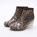 Leopard Print Wedge Rain Boots