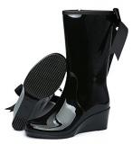 Mid Calf Wedge Rain Boots