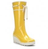 Yellow Wedge Rain Boots
