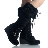 Black Wedge Snow boots Mid Calf