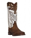 Brown and White Cowgirl Boots