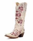 Cowgirl Boots with White Embroidery
