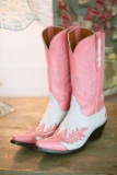 Pink and White Cowgirl Boots