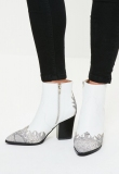 White Cowgirl Ankle Boots