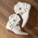 White Distressed Cowgirl Boots