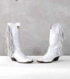 White Fringe Cowgirl Boots