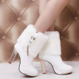 White Fur Ankle Boots