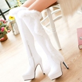 White Fur Boots Knee HIgh